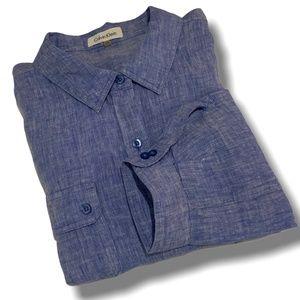 CALVIN KLEIN 100% Linen Chambray Button Down Shirt